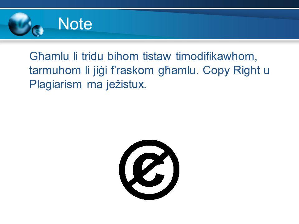 Note Għamlu li tridu bihom tistaw timodifikawhom, tarmuhom li jiġi fraskom għamlu. Copy Right u Plagiarism ma jeżistux.