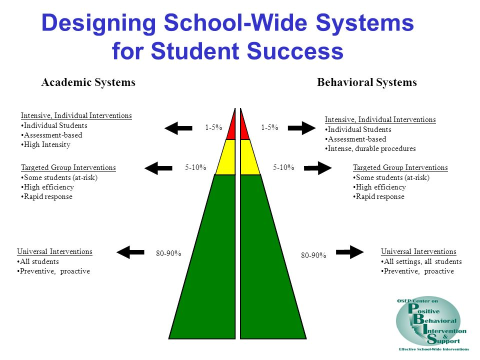 Academic SystemsBehavioral Systems 1-5% 5-10% 80-90% Intensive, Individual Interventions Individual Students Assessment-based High Intensity Intensive