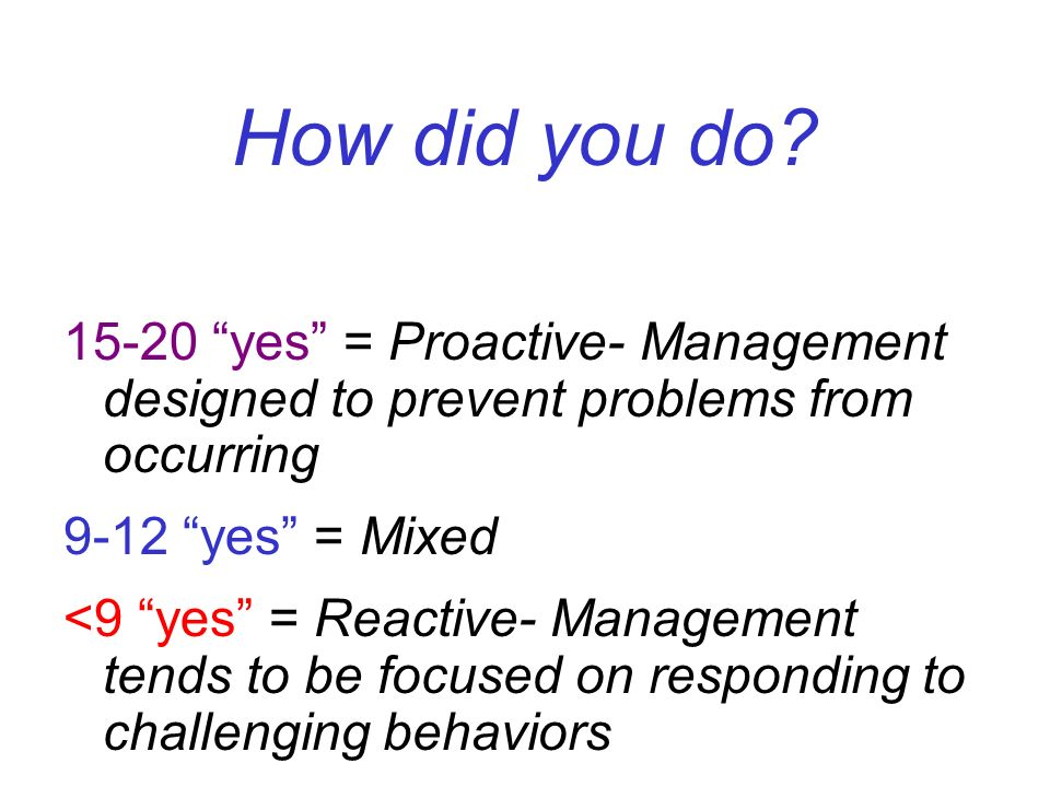 How did you do? 15-20 yes = Proactive- Management designed to prevent problems from occurring 9-12 yes = Mixed <9 yes = Reactive- Management tends to