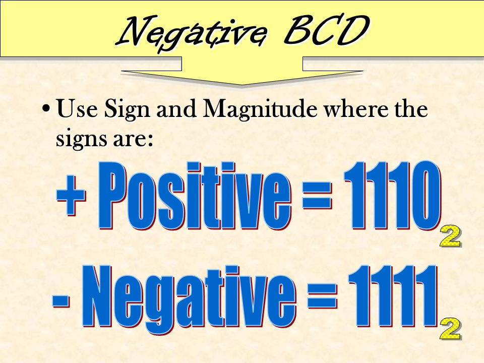 Negative BCD Use Sign and Magnitude where the signs are:Use Sign and Magnitude where the signs are: