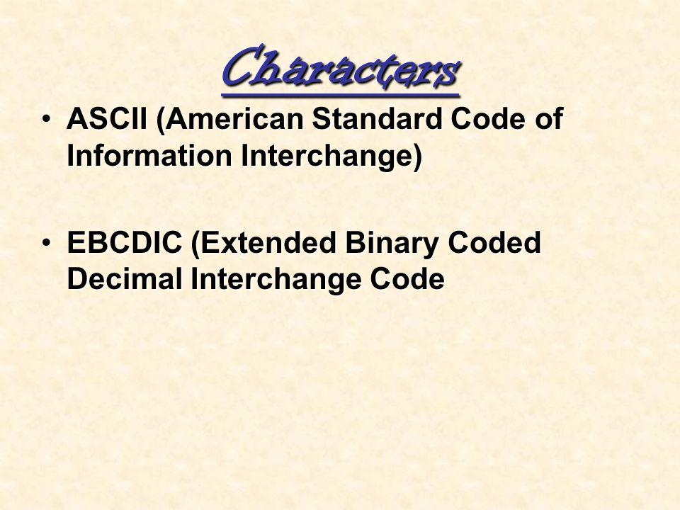 Characters ASCII (American Standard Code of Information Interchange)ASCII (American Standard Code of Information Interchange) EBCDIC (Extended Binary