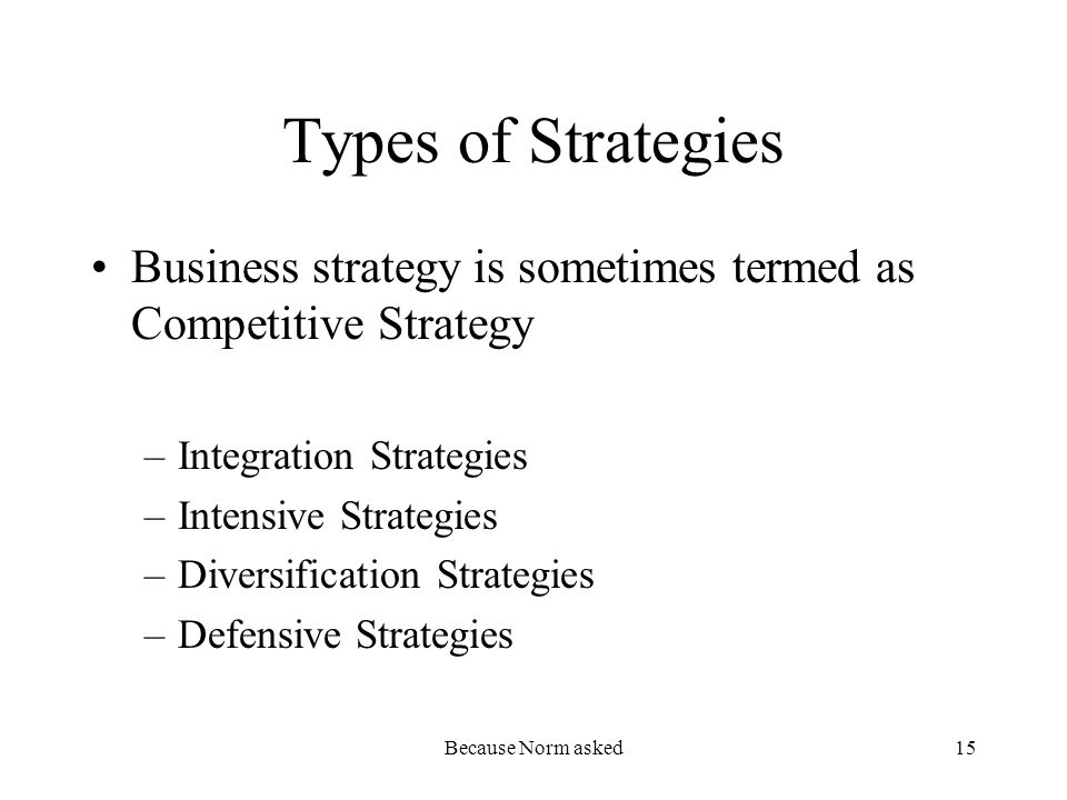 Because Norm asked15 Types of Strategies Business strategy is sometimes termed as Competitive Strategy –Integration Strategies –Intensive Strategies –