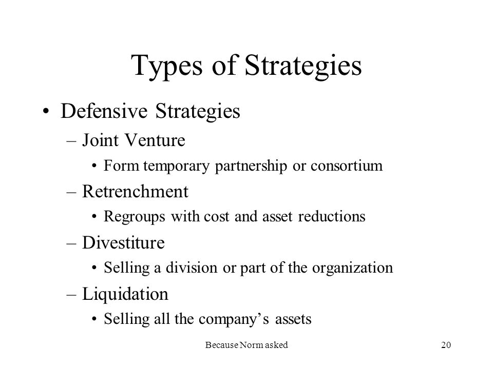 Because Norm asked20 Types of Strategies Defensive Strategies –Joint Venture Form temporary partnership or consortium –Retrenchment Regroups with cost and asset reductions –Divestiture Selling a division or part of the organization –Liquidation Selling all the companys assets