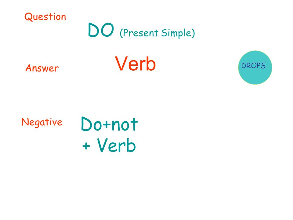 DO (Present Simple) Verb Question Answer Negative Do+not + Verb DROPS