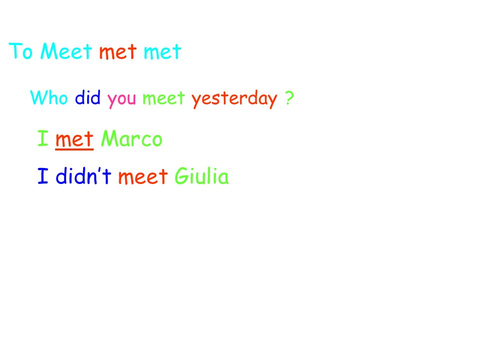 To Meet met met Who did you meet yesterday I met Marco I didnt meet Giulia