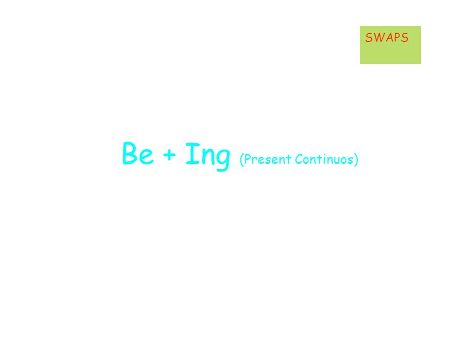Be + Ing (Present Continuos) SWAPS