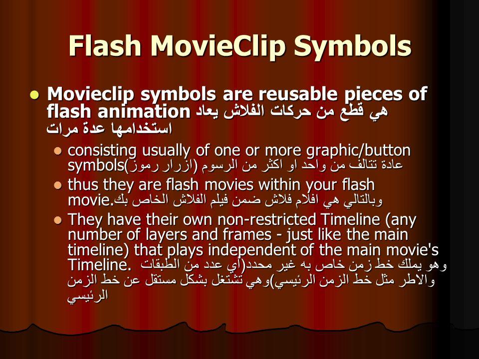 MovieClip Symbols Example Ex) to create a movie clip symbol, follow the following steps: Ex) to create a movie clip symbol, follow the following steps: 1.
