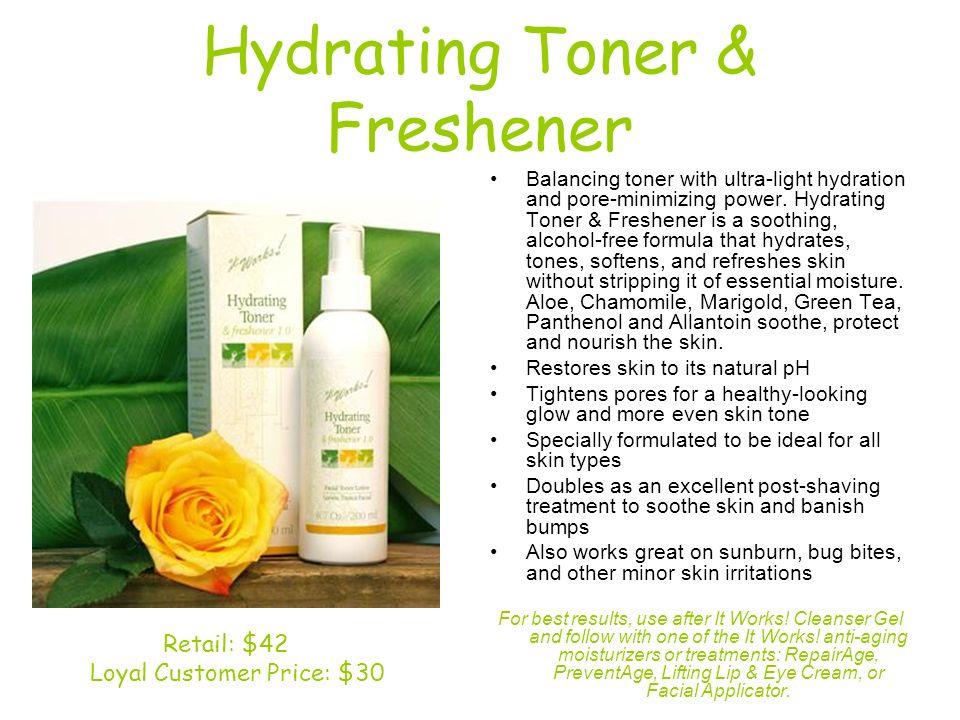 Hydrating Toner & Freshener Balancing toner with ultra-light hydration and pore-minimizing power. Hydrating Toner & Freshener is a soothing, alcohol-f