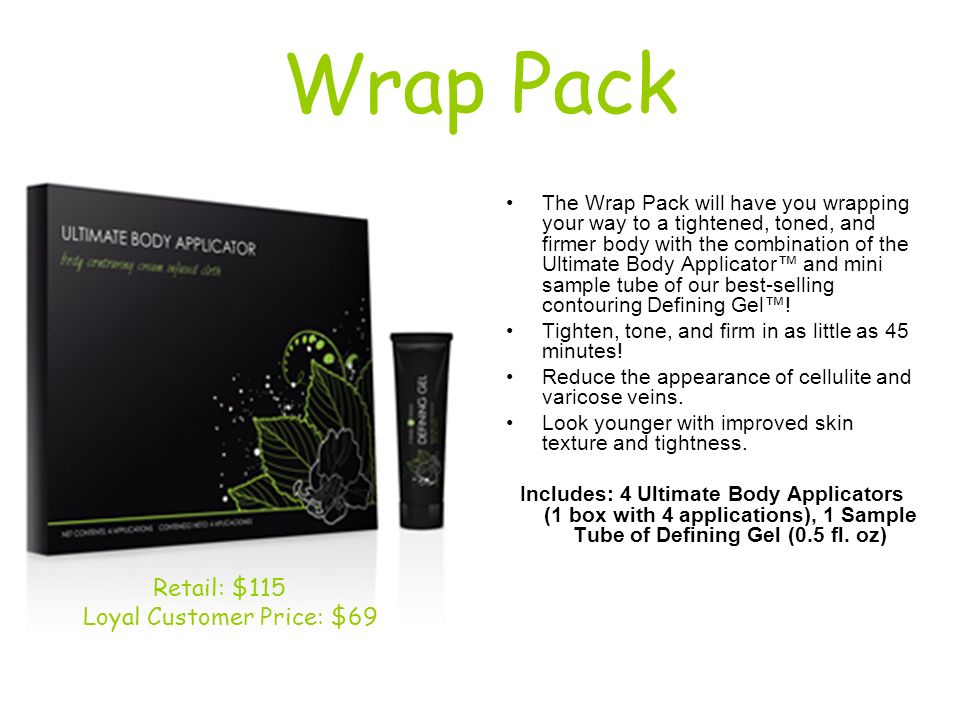 Wrap Pack The Wrap Pack will have you wrapping your way to a tightened, toned, and firmer body with the combination of the Ultimate Body Applicator an