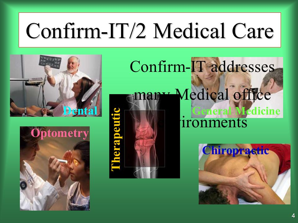 3 Confirm-IT/2 Medical Care Confirm-IT is an easy-to- use, robust appointment booking and confirmation system developed to increase productivity