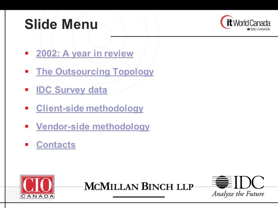 Slide Menu 2002: A year in review The Outsourcing Topology IDC Survey data Client-side methodology Vendor-side methodology Contacts