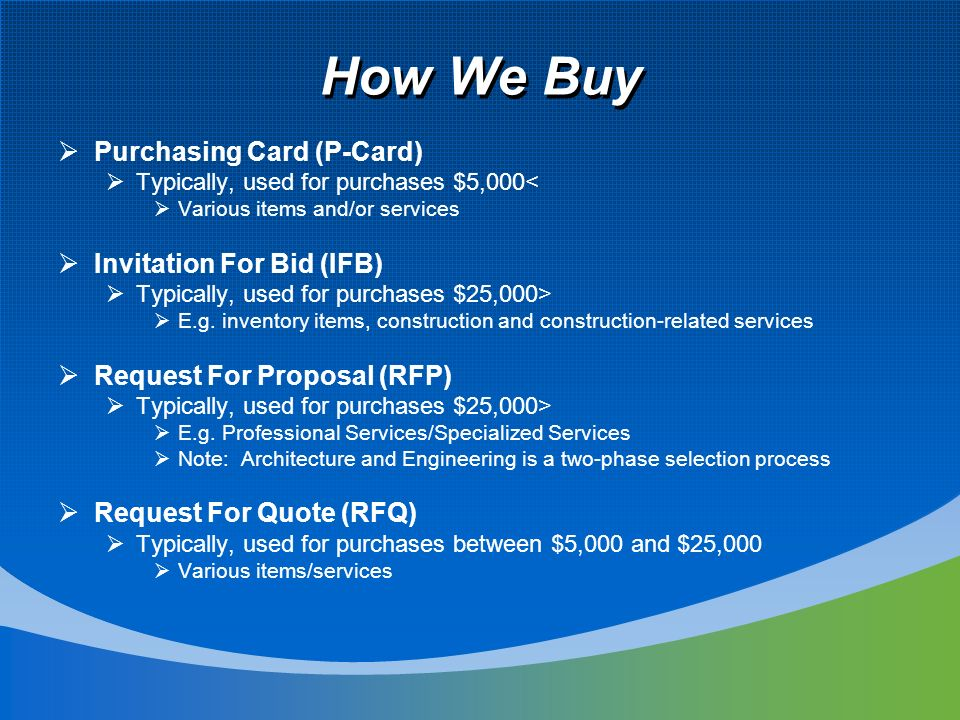 How We Buy Purchasing Card (P-Card) Typically, used for purchases $5,000< Various items and/or services Invitation For Bid (IFB) Typically, used for purchases $25,000> E.g.