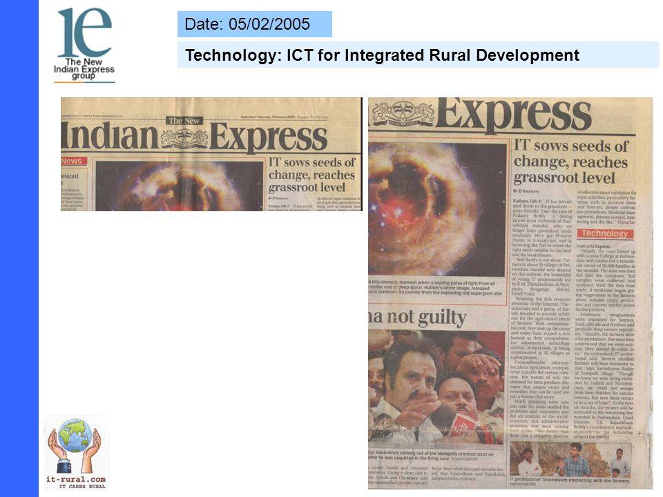 Date: 15/04/2005 Awareness Programme - IT Bringing Light Rural Life, says honble MP (Kadapa)