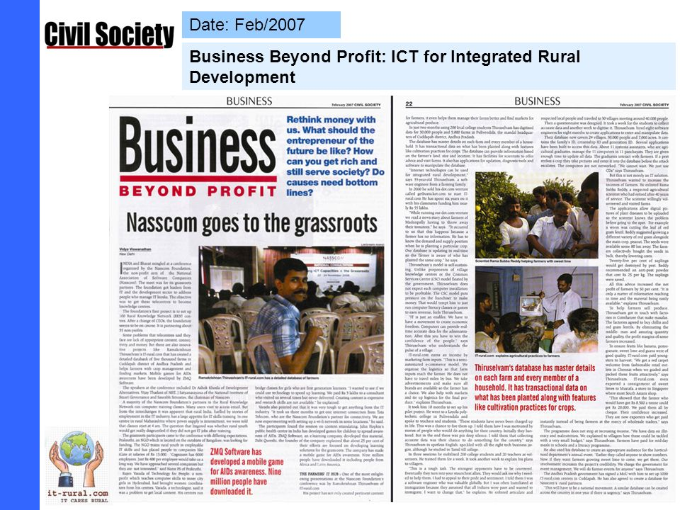 Date: 20/11/2005 Business- Net Profit Matters: Direct Marketing Fetches more than 100% extra profit to Farmers – Honble MP (Kadapa) handover Cheque to Farmers
