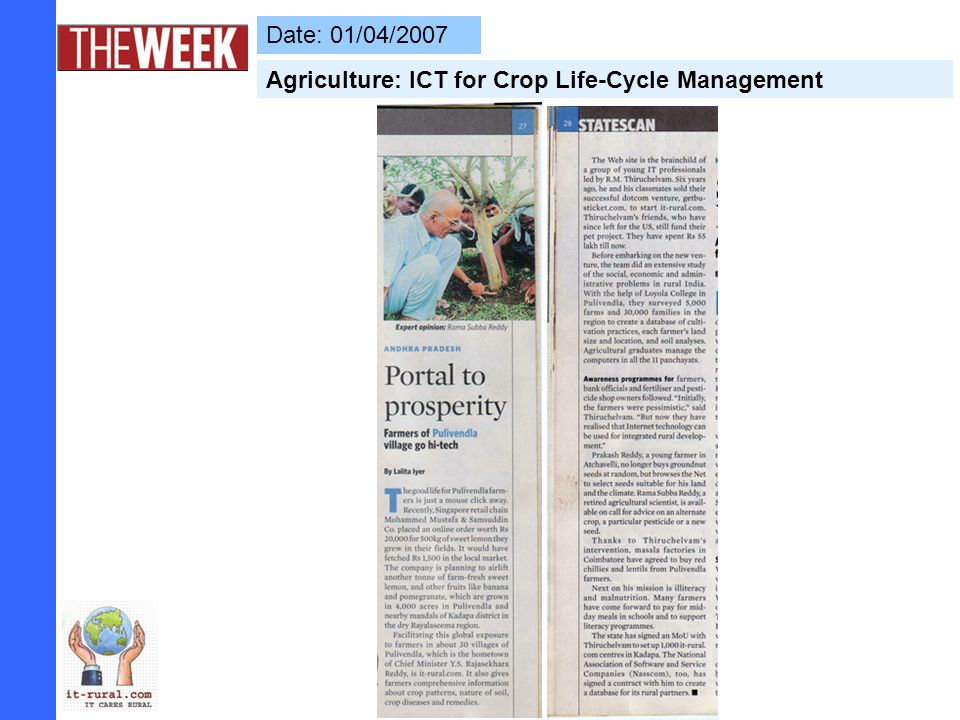 Date: 01/04/2007 Agriculture: ICT for Crop Life-Cycle Management
