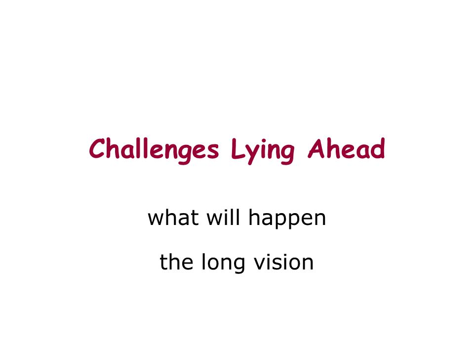 Challenges Lying Ahead what will happen the long vision