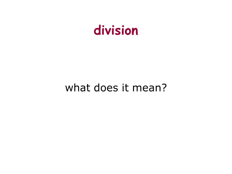 division what does it mean?