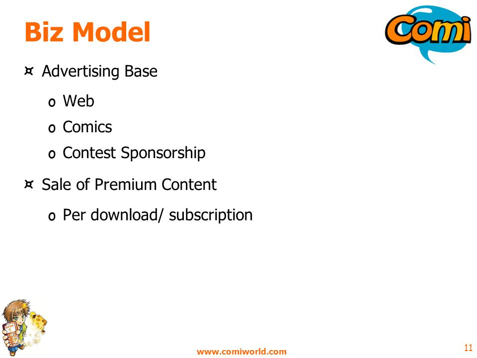 www.comiworld.com 11 Biz Model ¤ Advertising Base o Web o Comics o Contest Sponsorship ¤ Sale of Premium Content o Per download/ subscription