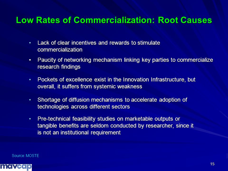 15 Low Rates of Commercialization: Root Causes Source: MOSTE Lack of clear incentives and rewards to stimulate commercializationLack of clear incentiv