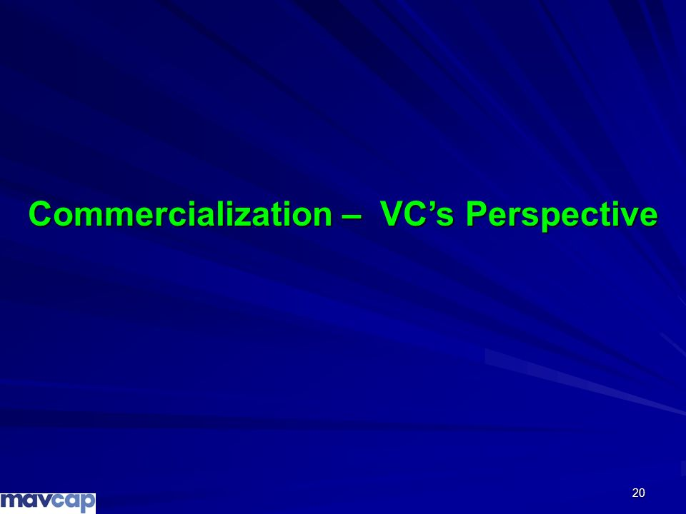 20 Commercialization – VCs Perspective