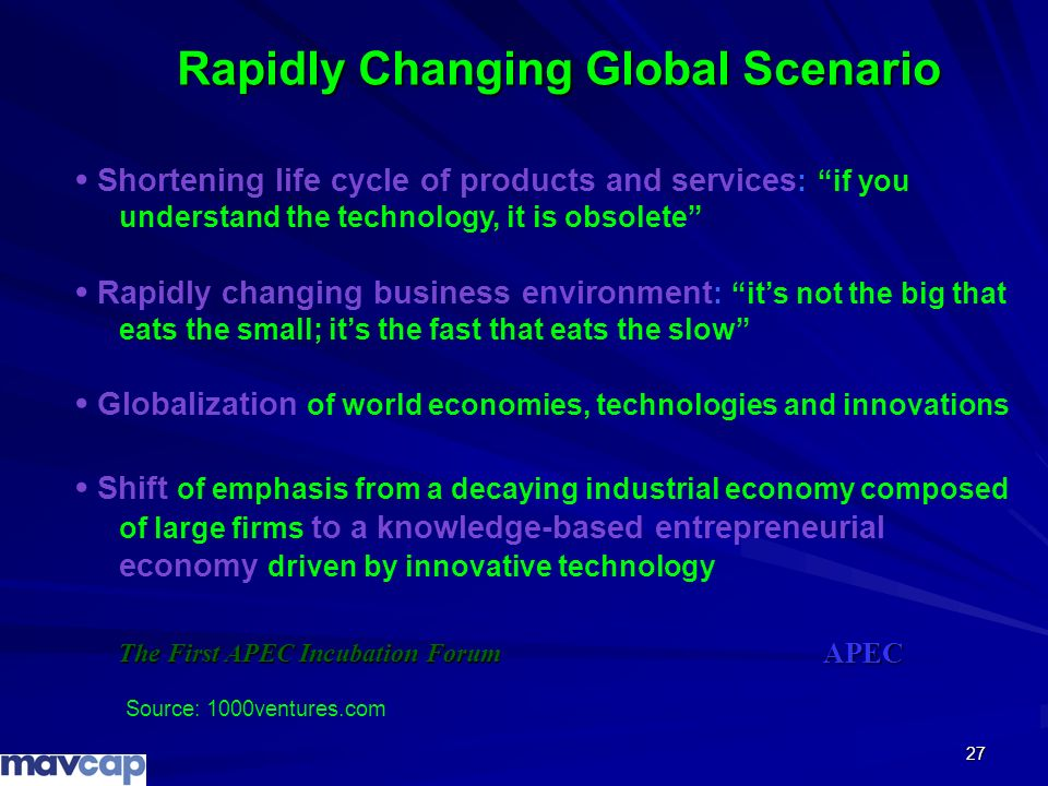 27 Rapidly Changing Global Scenario Shortening life cycle of products and services : if you understand the technology, it is obsolete Rapidly changing