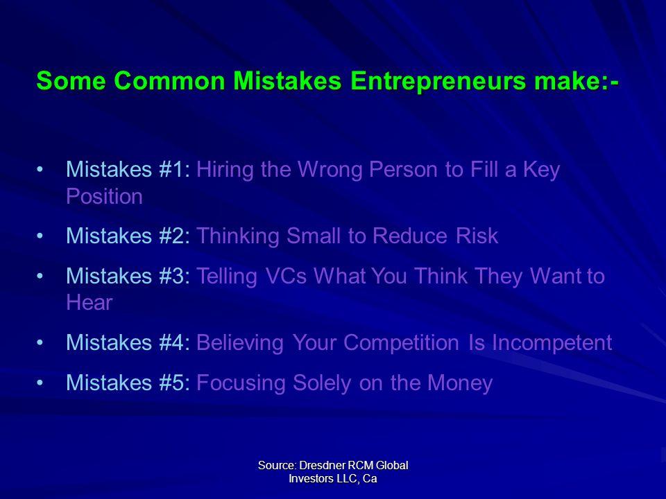 Source: Dresdner RCM Global Investors LLC, Ca Source: Dresdner RCM Global Investors LLC Some Common Mistakes Entrepreneurs make:- Mistakes #1: Hiring