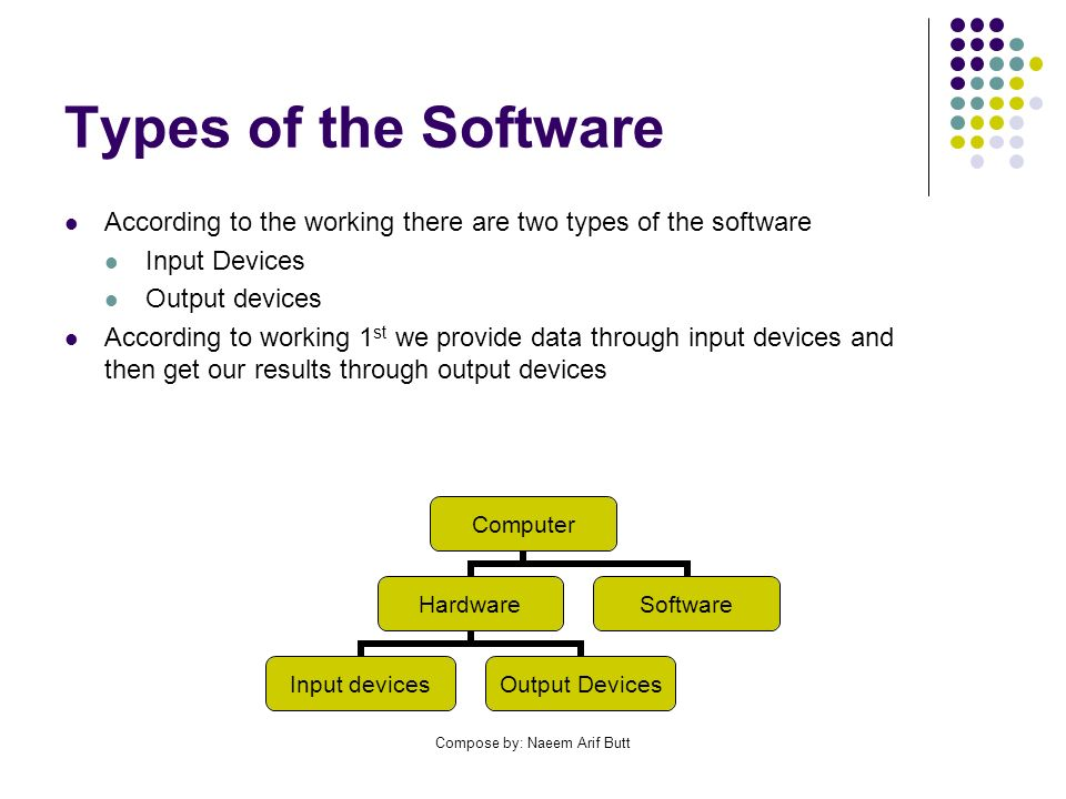 Compose by: Naeem Arif Butt Types of the Software According to the working there are two types of the software Input Devices Output devices According to working 1 st we provide data through input devices and then get our results through output devices Computer Hardware Input devices Output Devices Software