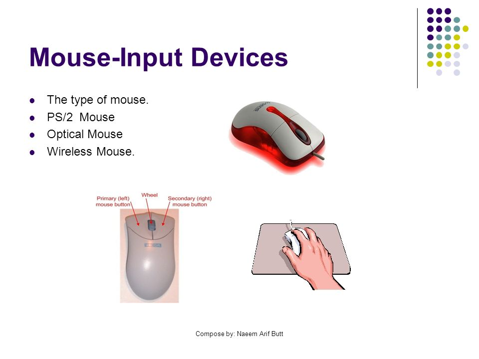Compose by: Naeem Arif Butt Mouse-Input Devices The type of mouse.