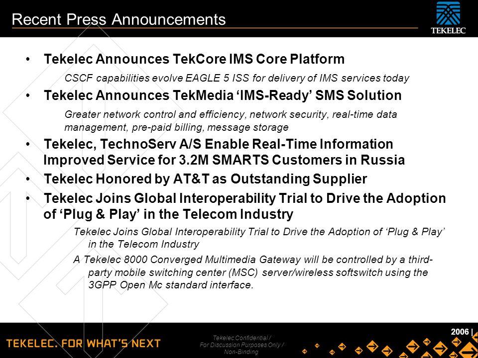 Tekelec Confidential Tekelec Confidential / For Discussion Purposes Only / Non-Binding 2006   Recent Press Announcements Tekelec Announces TekCore IMS