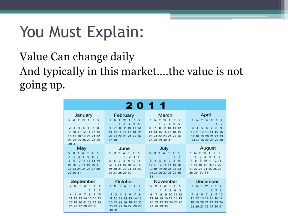 You Must Explain: Value Can change daily And typically in this market….the value is not going up.