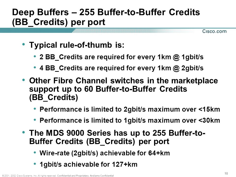 10 © 2001, 2002 Cisco Systems, Inc. All rights reserved. Confidential and Proprietary. Andiamo Confidential Deep Buffers – 255 Buffer-to-Buffer Credit