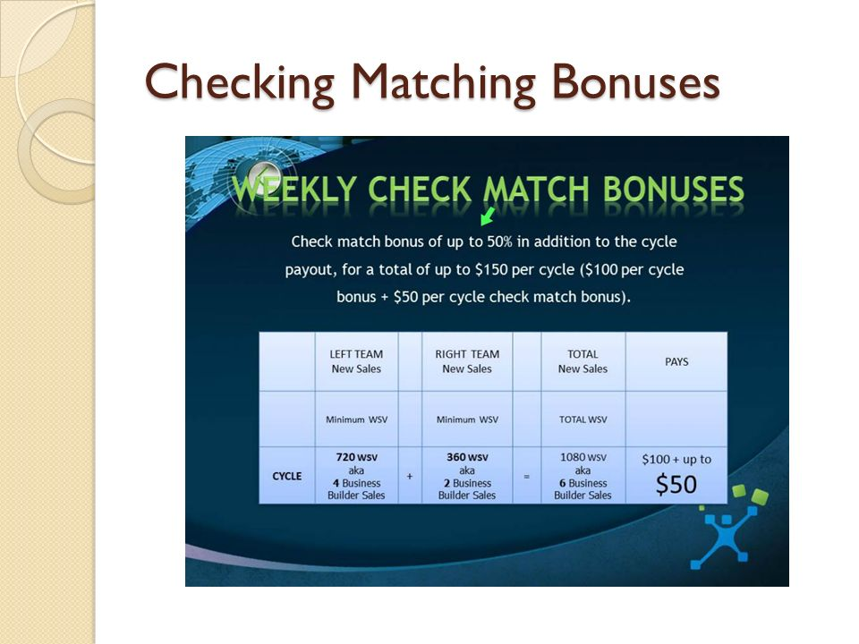 Checking Matching Bonuses