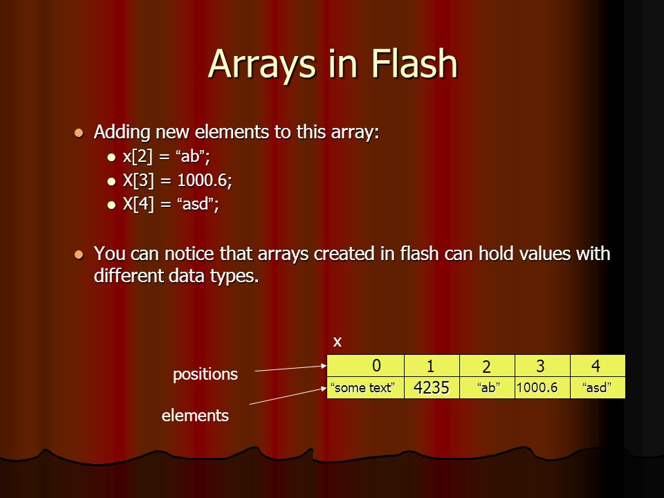 Arrays in Flash Adding new elements to this array: Adding new elements to this array: x[2] = ab ; x[2] = ab ; X[3] = 1000.6; X[3] = 1000.6; X[4] = asd ; X[4] = asd ; You can notice that arrays created in flash can hold values with different data types.