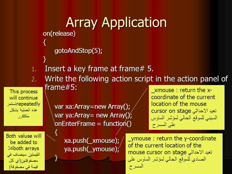 Array Application on(release){gotoAndStop(5);} 1. Insert a key frame at frame# 5. 2. Write the following action script in the action panel of frame#5: