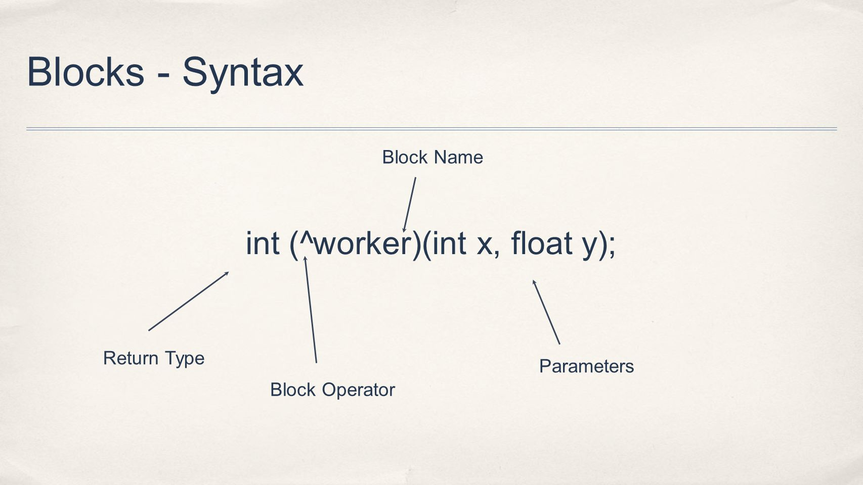 Blocks - Syntax int (^worker)(int x, float y); Return Type Block Operator Block Name Parameters