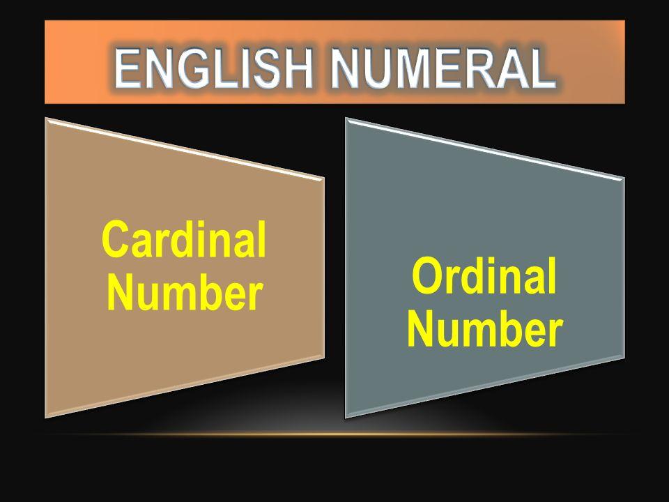Cardinal Number Ordinal Number