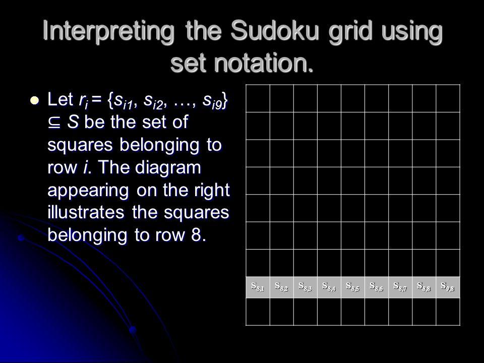 Interpreting the Sudoku grid using set notation. Let S = {s11, s12, …, s19, s21, …, s99} be the set of squares of the sudoku grid. S 1,1 S 1,2...... S