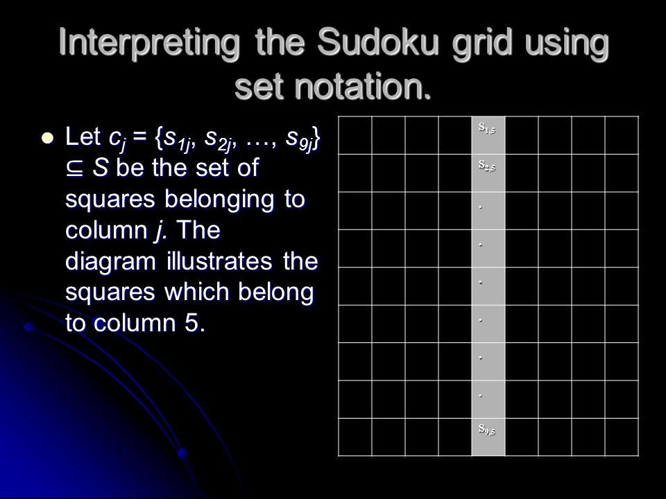 Interpreting the Sudoku grid using set notation. Let R = {r1, r2, …, r9} be the set of rows. let C = {c1, c2, …, c9} be the set of columns. The diagra