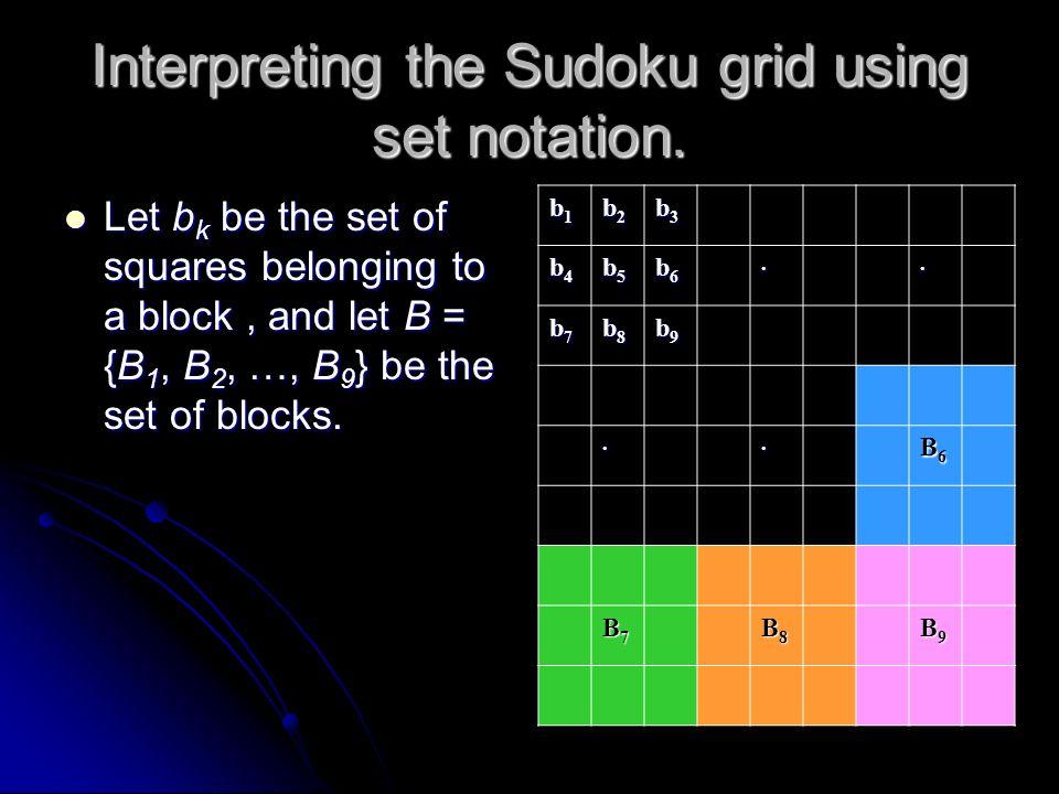 Interpreting the Sudoku grid using set notation. Let cj = {s1j, s2j, …, s9j} S be the set of squares belonging to column j. The diagram illustrates th