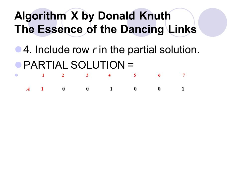 Algorithm X by Donald Knuth The Essence of the Dancing Links 3. Choose a row r such that A r, c = 1 Row A and B qualify, however row A is selected fir