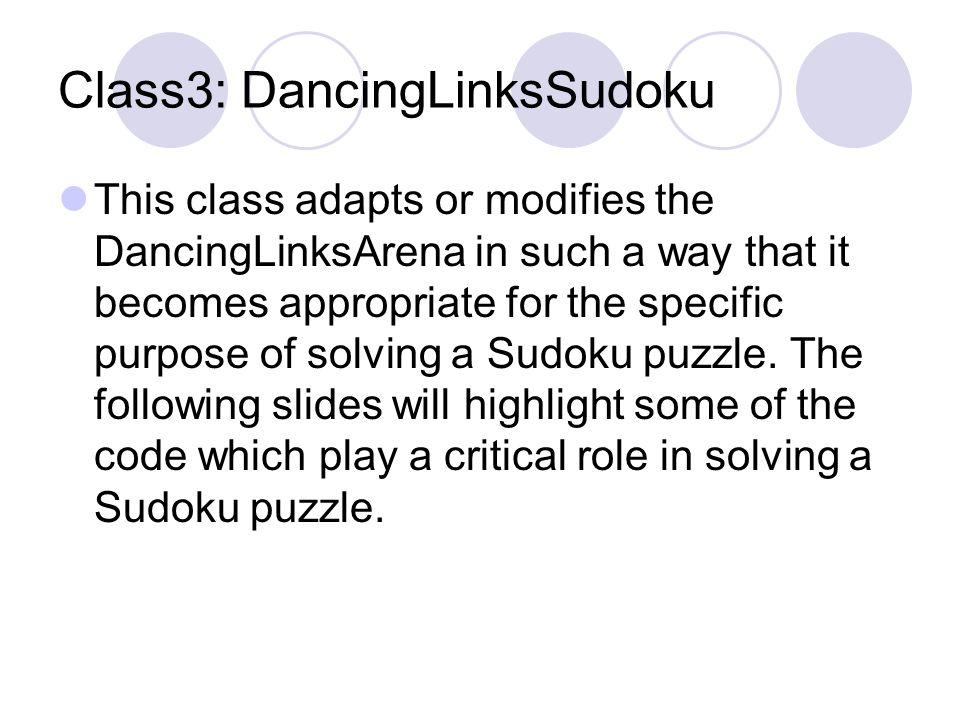 Class2: DancingLinksArena The constructor code. DancingLinksArena (int labels[],boolean optional[]){ //Constructor for the Dancing Links Arena ColumnN