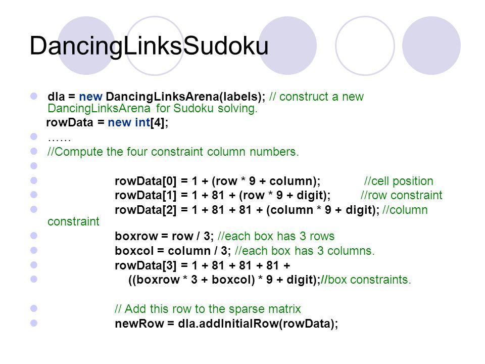 DancingLinksSudoku Constructor code. public DancingLinksSudoku(int [][]puzzle){ /* * The data row for the Sudoku sparse matrix looks like: * : the cel
