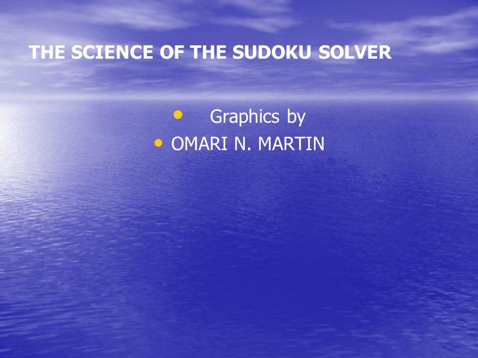 THE SCIENCE OF THE SUDOKU SOLVER Presenter OMARI N. MARTIN