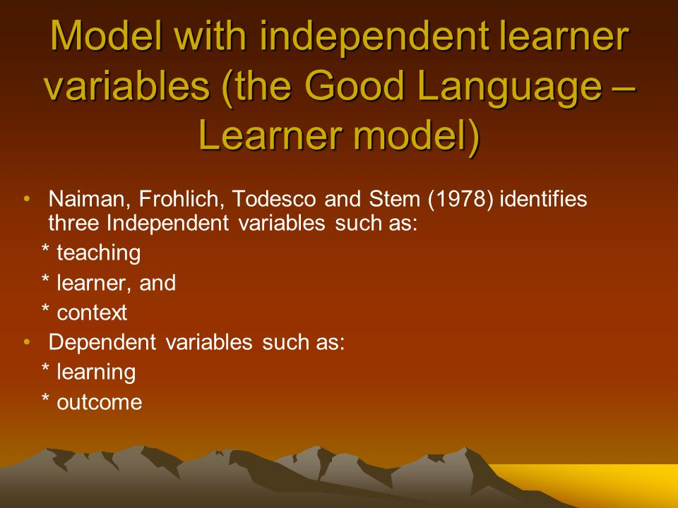 The organization of Presentation Models of second Language Learning and their variables.