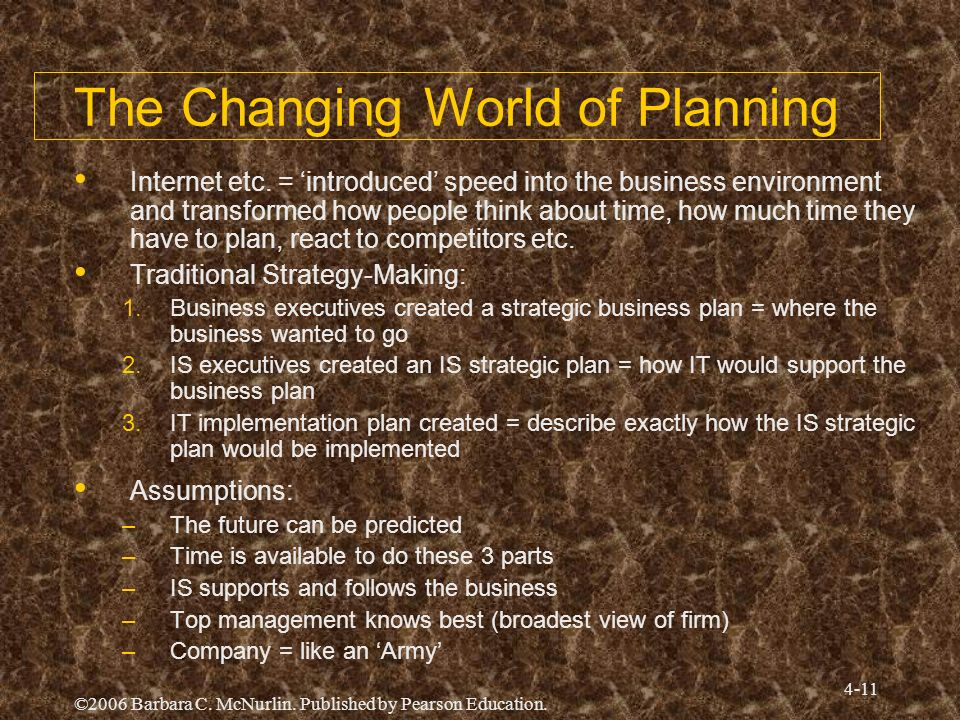 ©2006 Barbara C. McNurlin. Published by Pearson Education. 4-11 The Changing World of Planning Internet etc. = introduced speed into the business envi