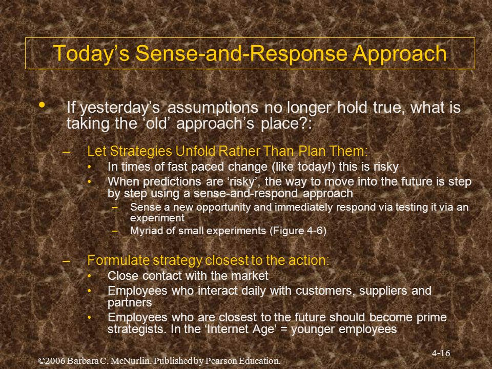 ©2006 Barbara C. McNurlin. Published by Pearson Education. 4-16 Todays Sense-and-Response Approach If yesterdays assumptions no longer hold true, what
