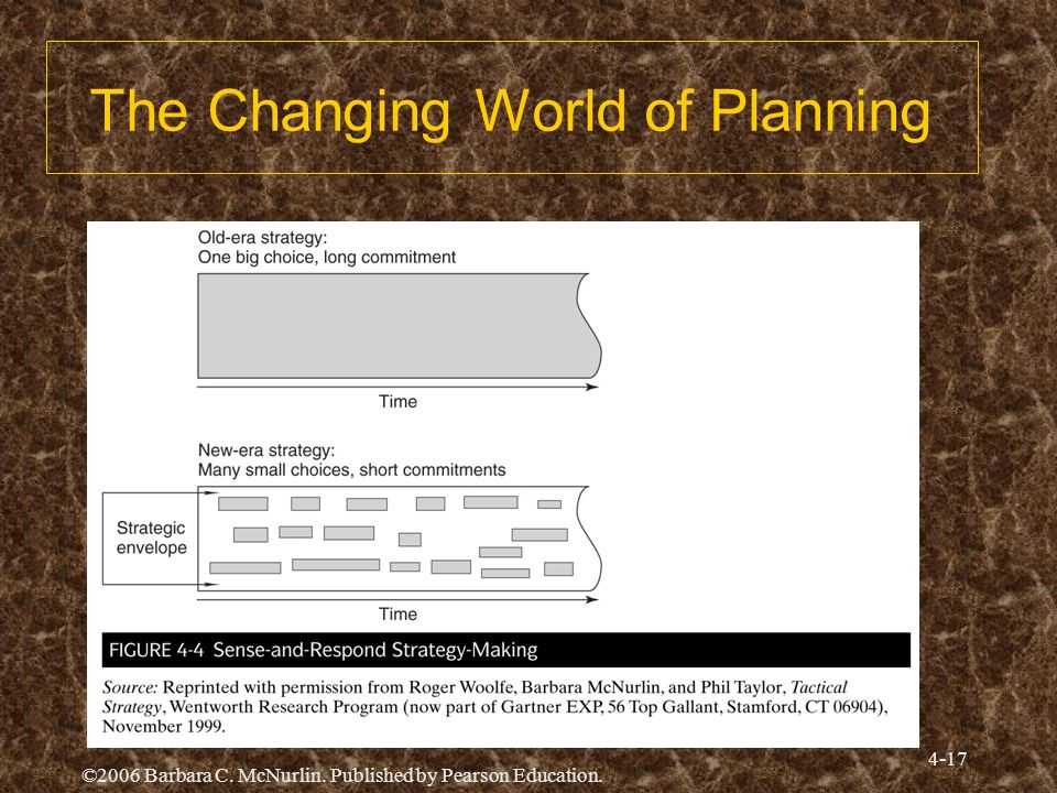 ©2006 Barbara C. McNurlin. Published by Pearson Education. 4-17 The Changing World of Planning
