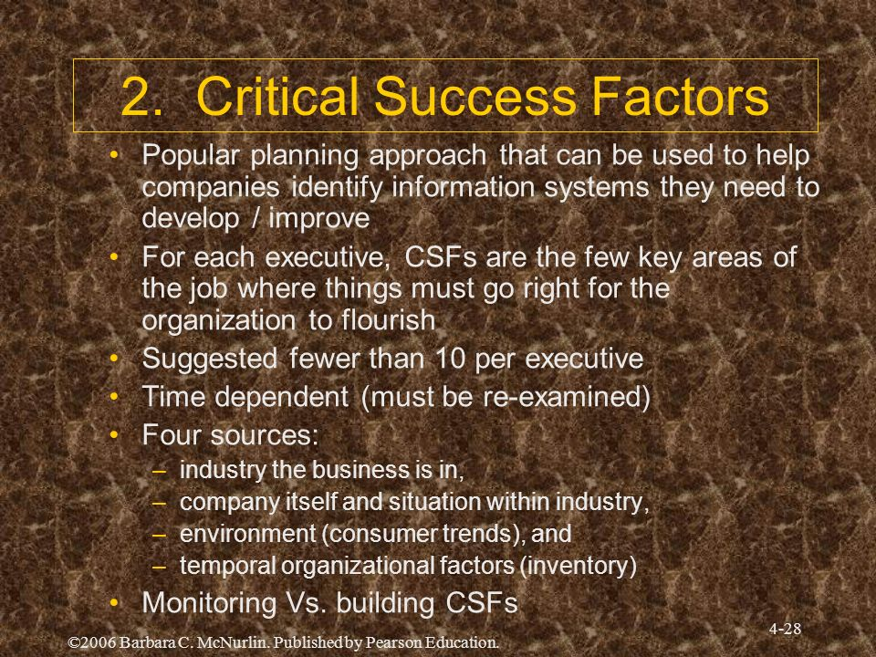 ©2006 Barbara C. McNurlin. Published by Pearson Education. 4-28 2. Critical Success Factors Popular planning approach that can be used to help compani