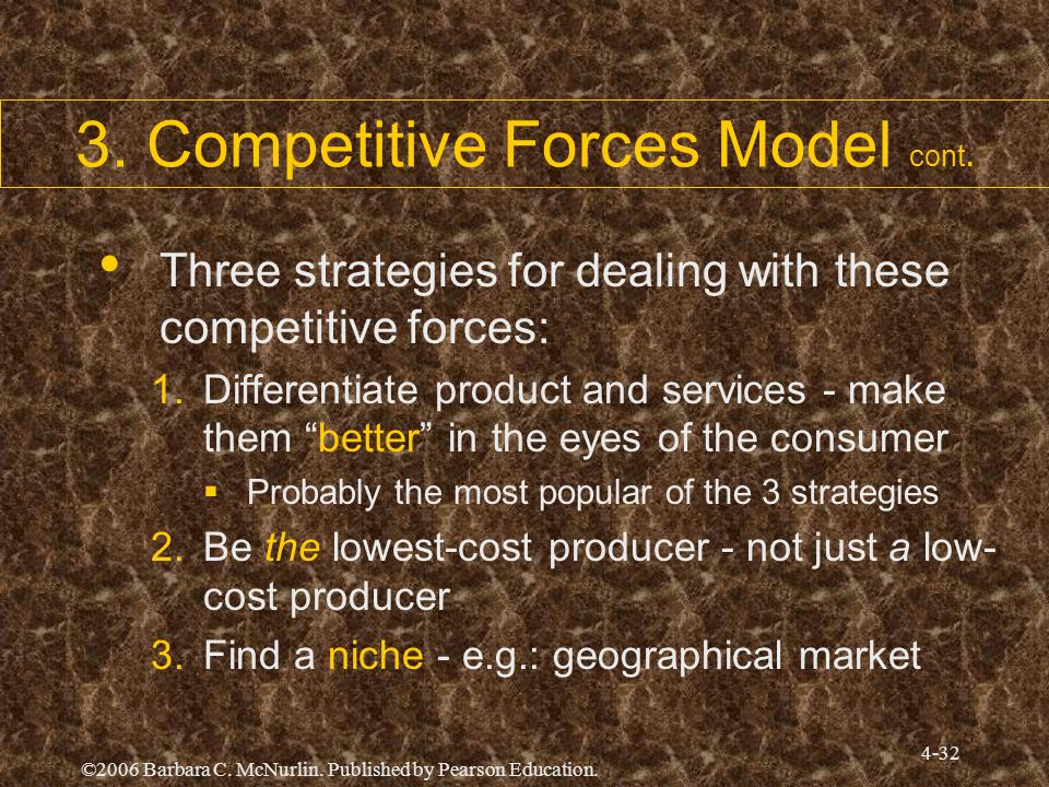©2006 Barbara C. McNurlin. Published by Pearson Education. 4-32 3. Competitive Forces Model cont. Three strategies for dealing with these competitive