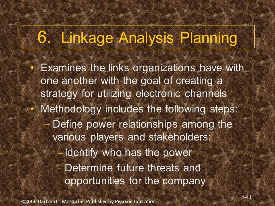 ©2006 Barbara C. McNurlin. Published by Pearson Education. 4-41 6. Linkage Analysis Planning Examines the links organizations have with one another wi